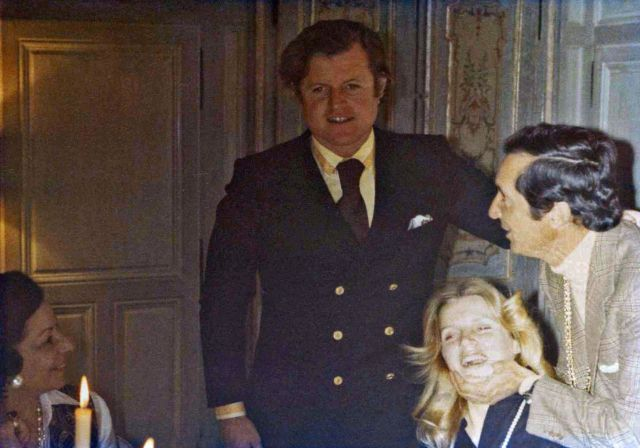 Berenice Stevenson de la Salle with Ted Kennedy and Luis Dominguin