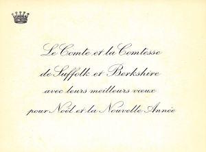 Christmas Card, Le Comte et la Comtesse de Suffolk et Berkshire