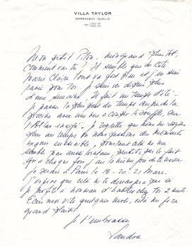"""Letter from Sandra Litman Howard to Pierre """"Pitou"""" de la Salle"""