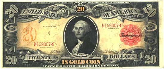 20 in gold coin