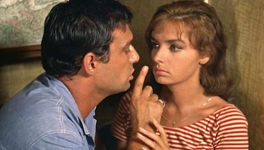 "Laforet, with Maurice Ronet in ""Plein Soleil"""